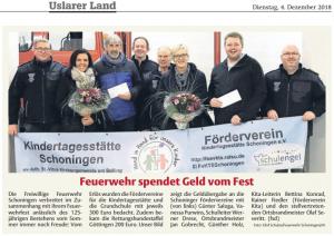 Spendenübergabe am 29.11.2018 im Feuerwehrhaus Schoningen